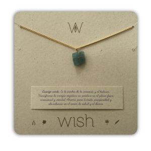 WHCLCD008O Collar cadena oro Cuarzo verde